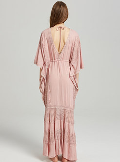 Deep V-neck Loose Perspective Maxi Dress