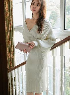 V-neck Lantern Sleeve Sweater Suit Dress