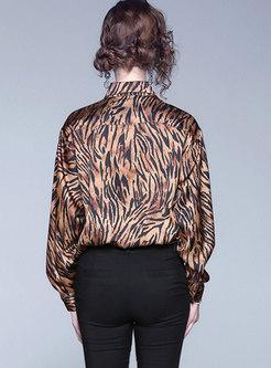 Lapel Zebra Long Sleeve Loose Blouse