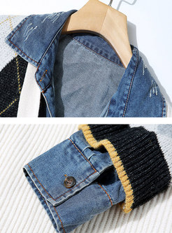 Lapel Denim Patchwork Sweater Sequin Coat