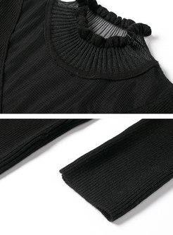 Polka Dot Transparent Mesh Patchwork Sweater