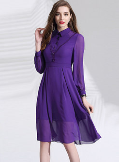 Solid Color Long Sleeve Chiffon Dress