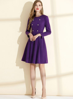 Purple Long Sleeve A Line Dress