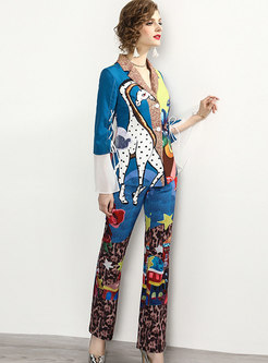 Notched Print Slim Flare Pant Suits