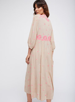 Ethnic V-neck Embroidery Maxi Dress