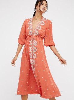 Bohemia Embroidered V-neck Drawcord Maxi Dress
