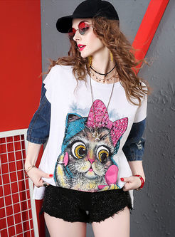 Crew Neck Color-blocked Cartoon Pattern T-shirt