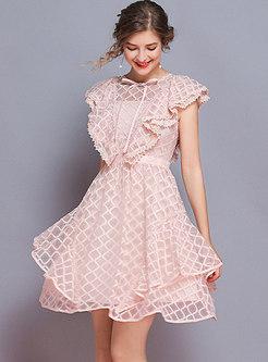 Lace O-neck Bowknot Asymmetric Slim Dress