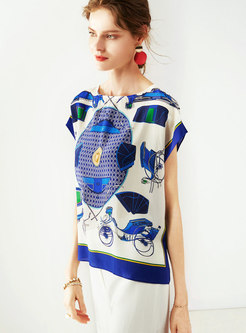 Print Loose Bat Sleeve Pullover Silk T-shirt