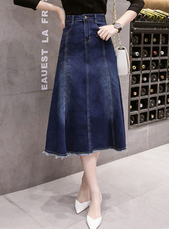 High Waisted Fringed Hem Denim Skirt