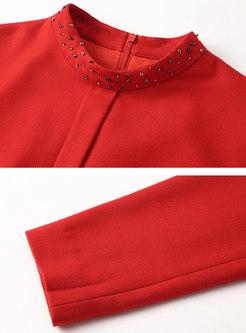 Red Mock Neck Beading Skater Dress