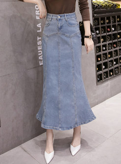 Blue High Waisted Denim Peplum Maxi Skirt