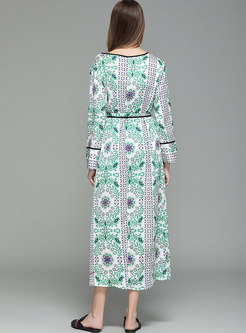 V-neck Long Sleeve Print Silk Beach Kimono