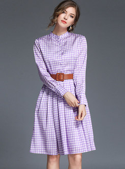 Mock Neck Plaid Skater Dress With Belt