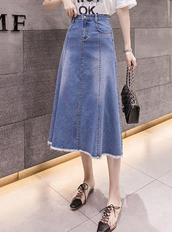 Light Blue A Line Long Denim Skirt