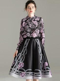 Mock Neck Pullover Print A Line Suit Dress