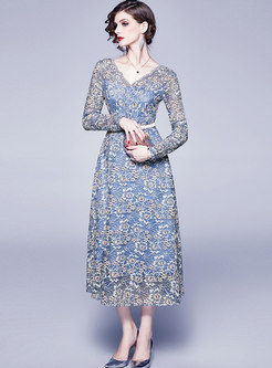 Long Sleeve Lace Maxi Dress With Belt