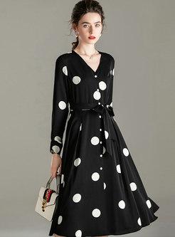 Black V-neck Polka Dot Skater Dress