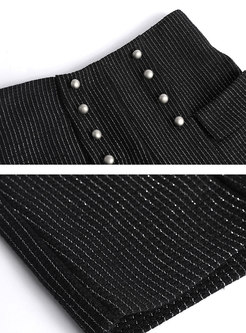 Black High Waisted Wool Blend Shorts