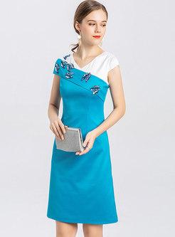 Color-blocked V-neck Sequin Bodycon Dress