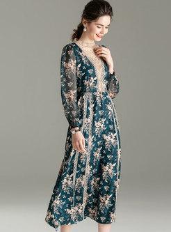 Long Sleeve Print Patchwork Maxi Dress