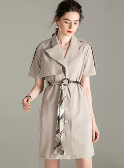 Notched Single-breasted Slim Coat Dress