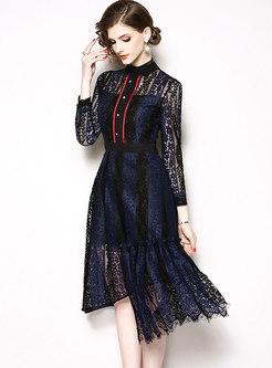 Mock Neck Openwork Asymmetric Lace Skater Dress