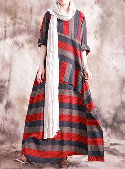 Plus Size Crew Neck Striped Maxi Dress