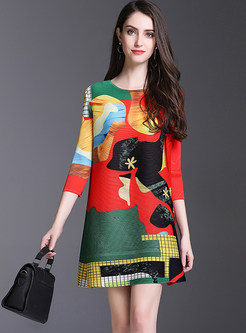 Graffiti Color-blocked Loose Shift Dress