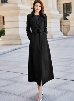Double Breasted Slim Long Trench Coat