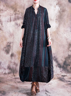 V-neck Long Sleeve Print Shift Maxi Dress