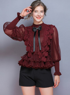 Lantern Sleeve Pullover Falbala Sweater