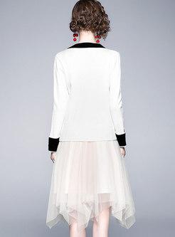 Color-blocked V-neck Asymmetric Mesh Suit Dress