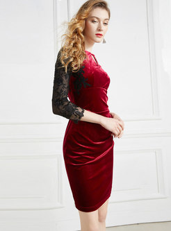 Crew Neck Lace Patchwork Velvet Bodycon Dress