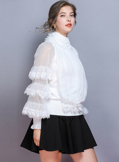 Lace Patchwork Polka Dot Mesh Sweater