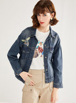 Lapel Cartoon Pattern Denim Jacket