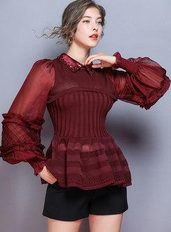 Lantern Sleeve Patchwork Falbala Sweater
