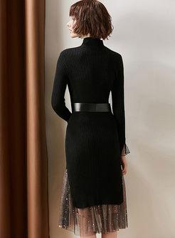 Mock Neck Long Sleeve Sweater Mesh Suit Dress