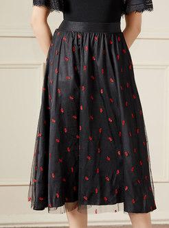 High Waisted Embroidered Mesh A Line Skirt