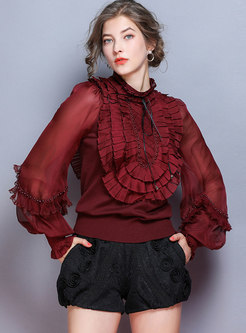 Lantern Sleeve Falbala Patchwork Sweater