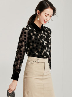Black Lapel Polka Dot Pullover Blouse