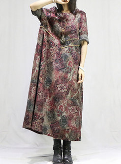 Plus Size Print Loose Shift Dress