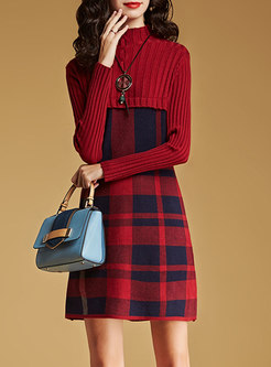 Mock Neck Plaid Patchwork Sweater Dress