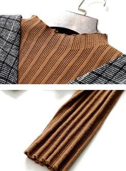 Pullover Sweater Plaid Slim Three Piece Dress