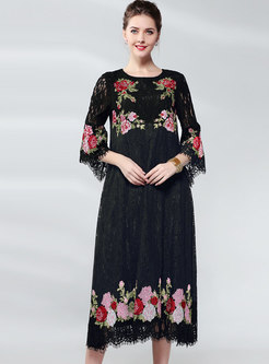 Openwork Embroidered Lace Shift Dress