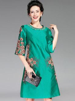 Half Sleeve Embroidered Plus Size Dress