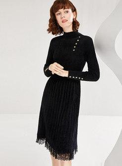 Mock Neck Lace Patchwork Sweater Dress