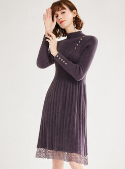 Mock Neck Lace Patchwork Sweater Dress