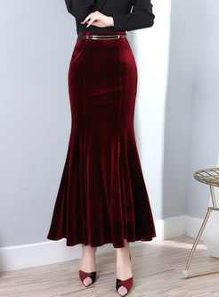 Solid Color Velvet Mermaid Maxi Skirt