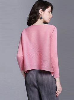 Crew Neck Long Sleeve Plus Size Pleated Top